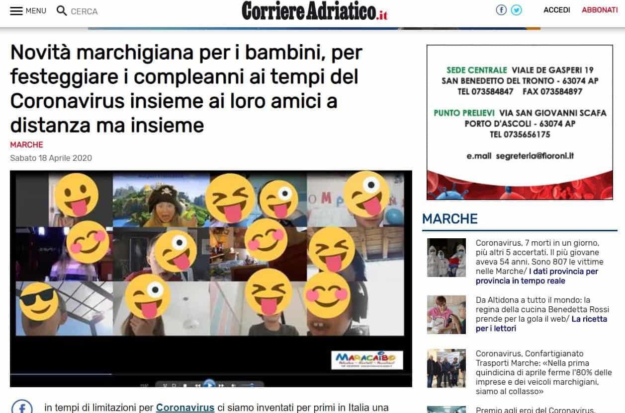 Articolo di giornale compleanni online Maracaibo feste durante quarantena bambini adolescenti streaming da casa a distanza con compagni amiche