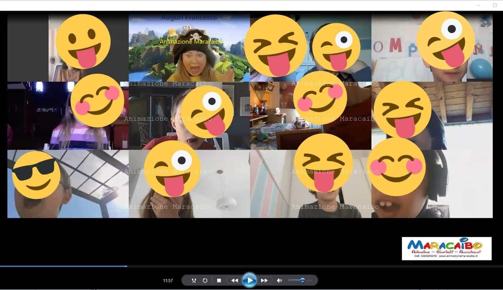 Compleanno online per bambini da casa virtuale a distanza festeggia compleanno via streaming internet web quarantena con tutti i compagni on-line